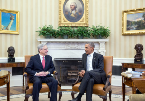 President Barack Obama meets with Judge Merrick B. Garland in the Oval Office, March 9, 2016. (Official White House Photo by Pete Souza)