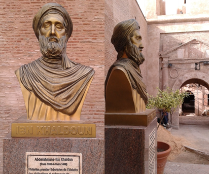 The bust of Ibn Khaldun  and the entrance door of the Casbah of Bejaia (built in 1154, place of learning for Ibn Khaldun , Fibonacci and other scientists). Image credit: Kamel Belhamel