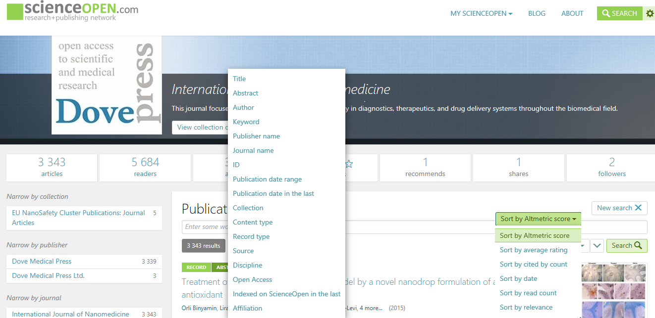 Powerful new search filers on ScienceOpen