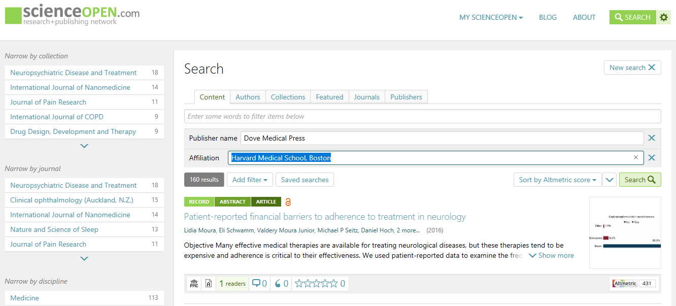 Filter for author affiliations