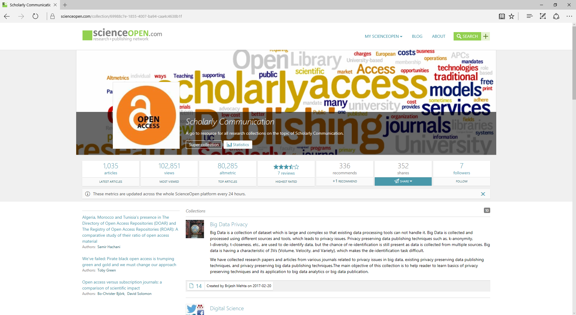 Scholarly communication super collection on ScienceOpen